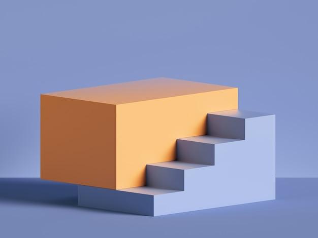 Renderização 3d de etapas abstratas de amarelo mínimo