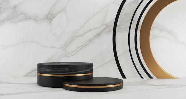 Renderização 3d de etapas de pedestal de mármore preto, isoladas no fundo de mármore branco, anel de ouro, 3 cilindros, conceito mínimo abstrato, espaço em branco, luxo minimalista