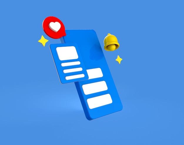 Renderização 3d de exibição de mídia social no smartphone