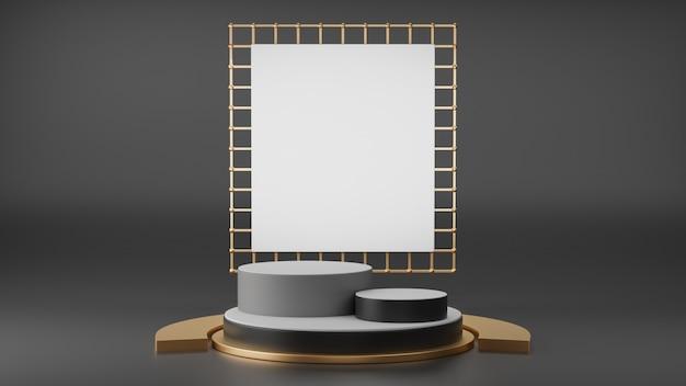 Renderização 3d de exibição de pódio de pedestal preto e dourado