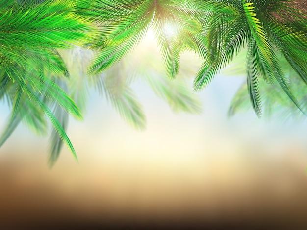 Renderização 3d de folhas de palmeiras contra o fundo defocussed
