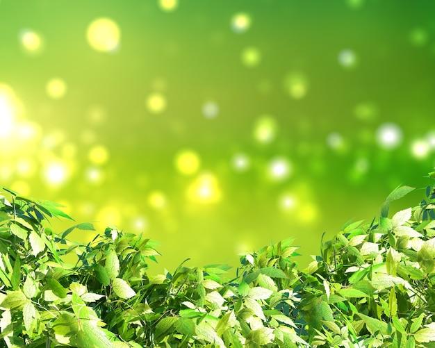 Renderização 3d de folhas verdes em um fundo ensolarado de luzes de bokeh