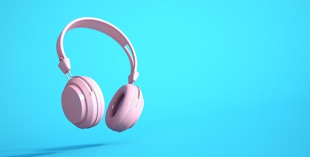 Renderização 3d de fones de ouvido rosa em um fundo azul