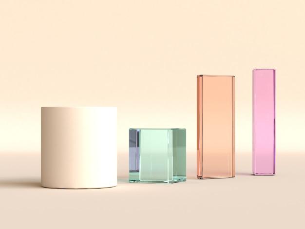 Renderização 3d de forma de transparência colorida