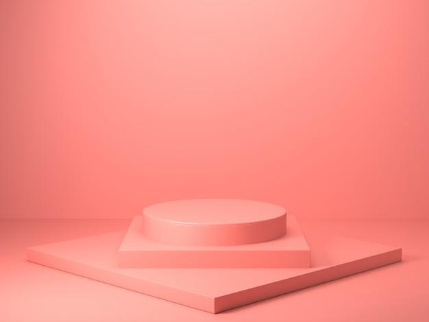 Renderização 3d de forma geométrica de cor rosa abstrata, maquete minimalista moderna para exibição no pódio ou vitrine