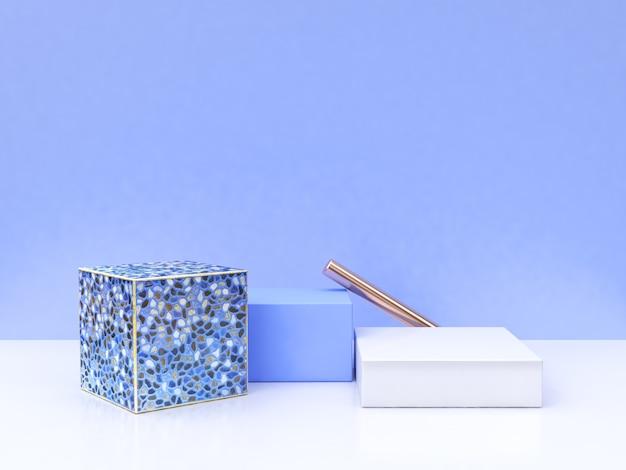 Renderização 3d de forma geométrica de grupo azul cena branca