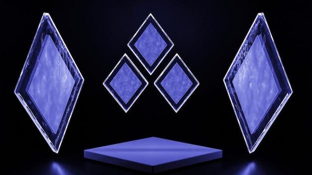 Renderização 3d de formas geométricas abstratas azuis em fundo preto