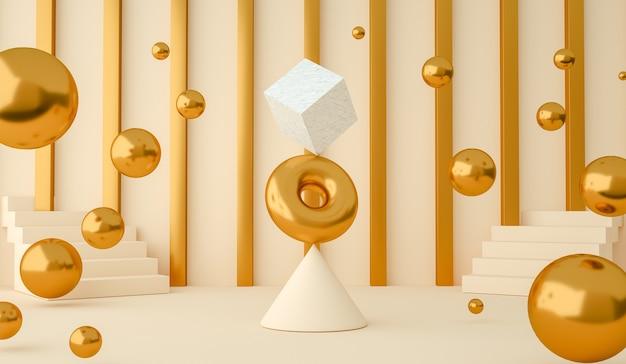 Renderização 3d de formas geométricas abstratas