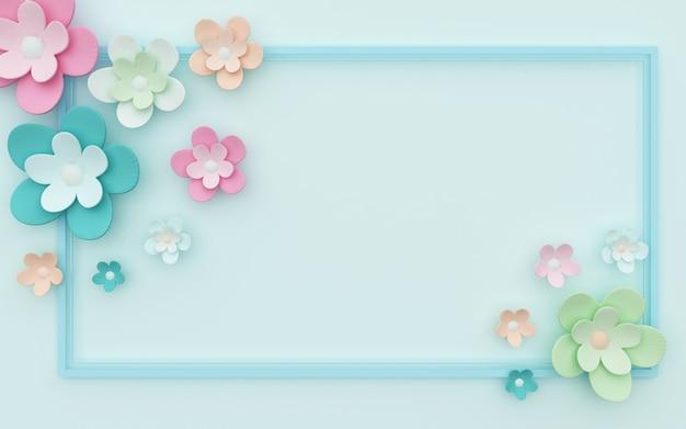 Renderização 3d de fundo abstrato azul com linda decoração de flores