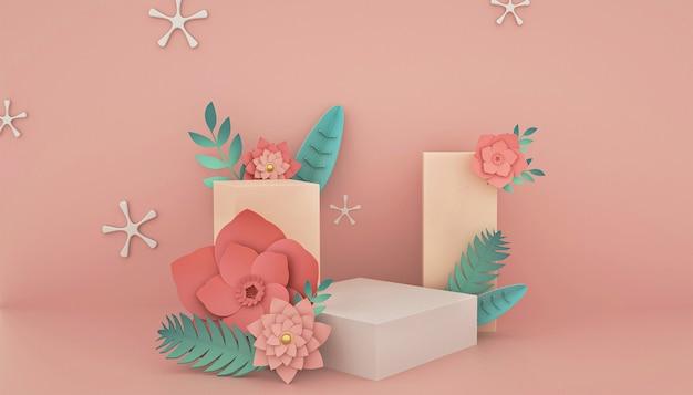 Renderização 3d de fundo abstrato com decoração rosa para exibição de produtos