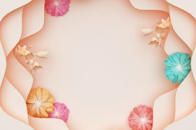 Renderização 3d de fundo abstrato com decorações coloridas de flores de crisântemo