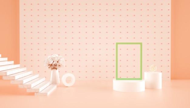 Renderização 3d de fundo abstrato com flores na mesa