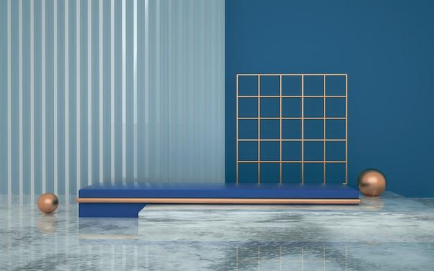 Renderização 3d de fundo abstrato geométrico com paredes listradas para simulação de exibição