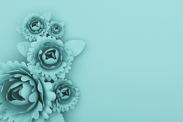 Renderização 3d de fundo azul abstrato com decorações florais
