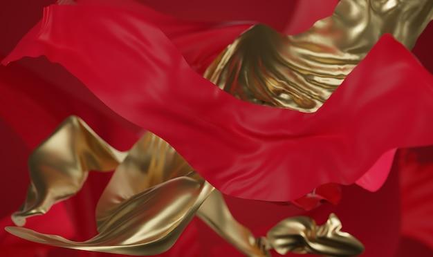 Renderização 3d de fundo chinês vermelho e dourado