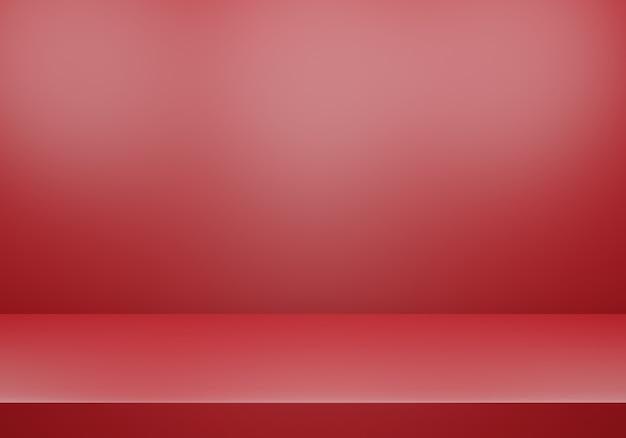 Renderização 3d de fundo de conceito mínimo abstrato vermelho vazio