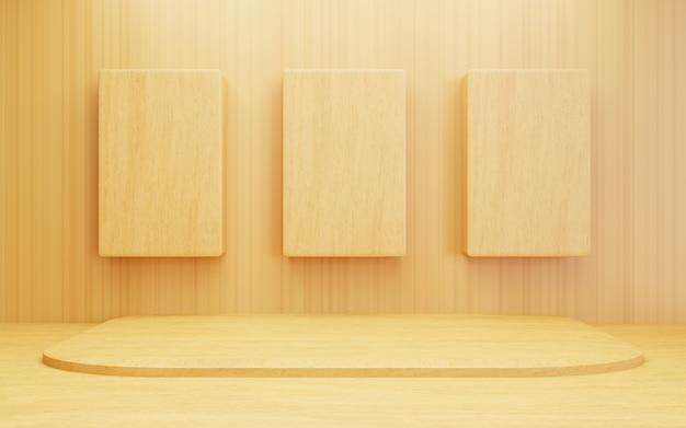 Renderização 3d de fundo de conceito mínimo de madeira abstrato marrom vazio cena para publicidade