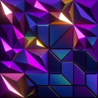 Renderização 3d de fundo de cristal abstrato facetado
