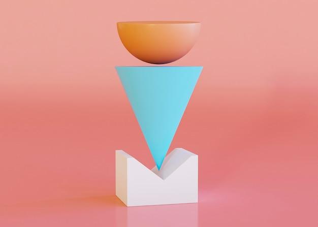 Renderização 3d de fundo de formas geométricas