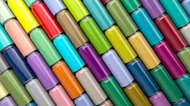 Renderização 3d de fundo de lata de refrigerante multicolorida de alumínio