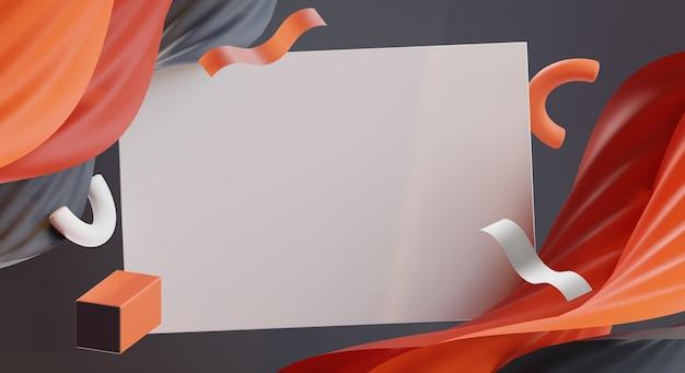 Renderização 3d de fundo de memphis de forma abstrata colorida profissional e modelo de cartão em branco branco