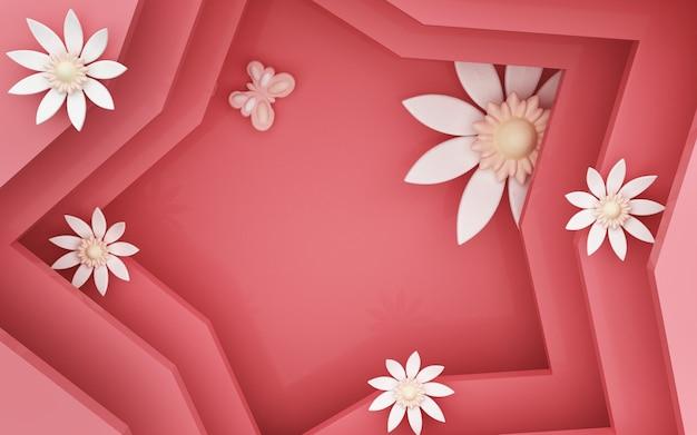 Renderização 3d de fundo estrela vermelha com decorações florais