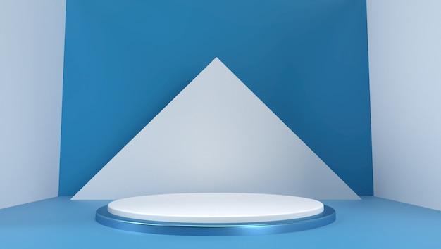 Renderização 3d de fundo geométrico abstrato, cena, pódio, palco e exibição. cor azul e branca.