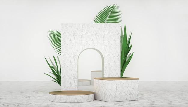 Renderização 3d de fundo geométrico abstrato com decoração de plantas para exposição de produtos