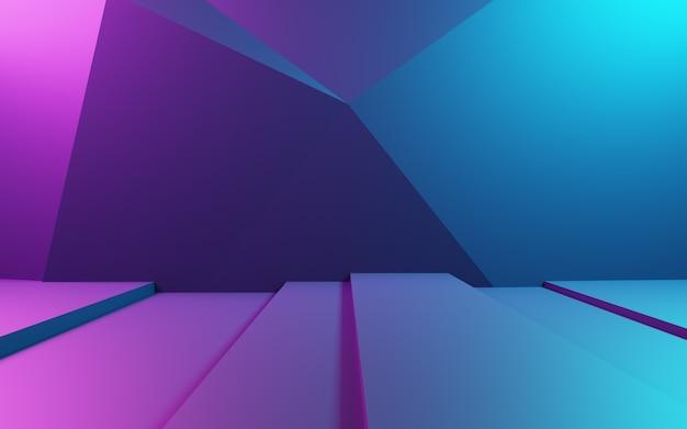 Renderização 3d de fundo geométrico abstrato roxo e azul. conceito cyberpunk