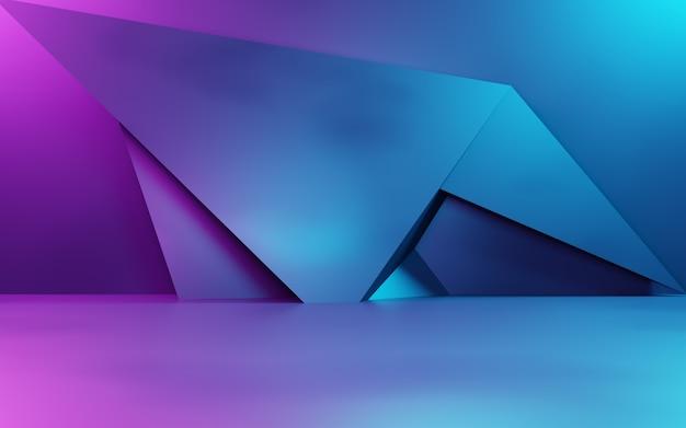 Renderização 3d de fundo geométrico abstrato roxo e azul. uso do conceito de cyberpunk para publicidade