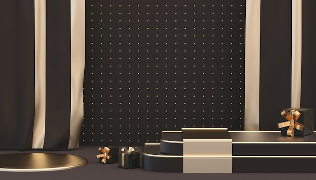 Renderização 3d de fundo preto abstrato com caixa de presente para exposição do produto