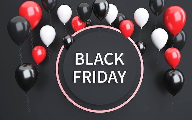 Renderização 3d de fundo preto abstrato de sexta-feira com balões coloridos