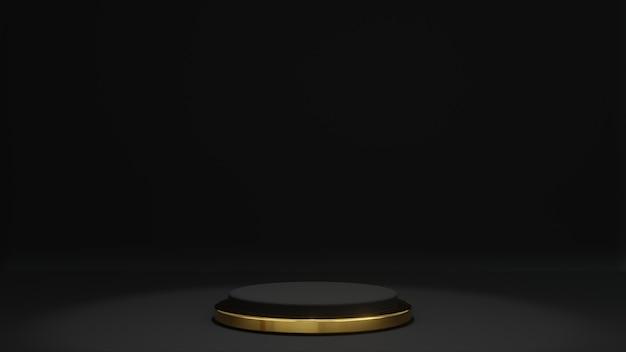 Renderização 3d de fundo preto com pódio de suporte de produtos dourado e preto