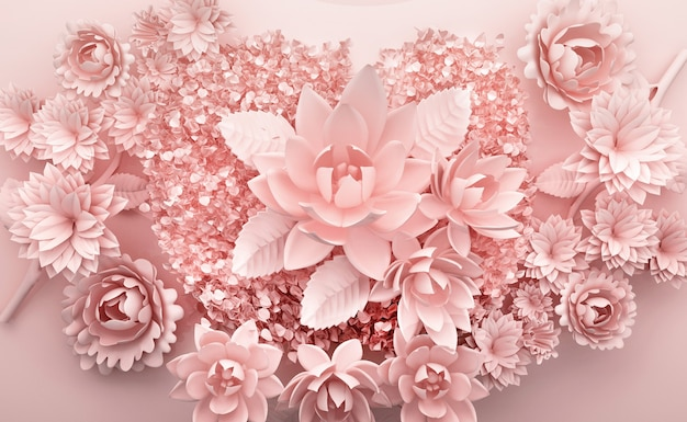 Renderização 3d de fundo rosa com flores luxuosas