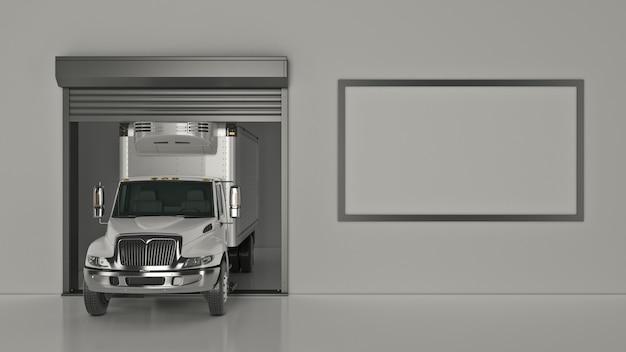 Renderização 3d de garagem com porta de rolo aberta