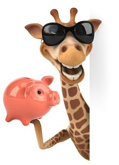 Renderização 3d de girafa engraçada