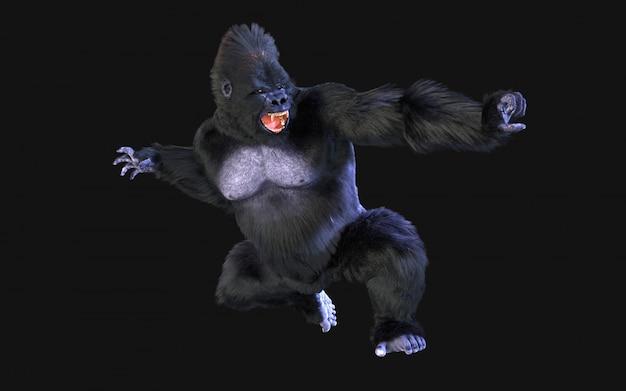 Renderização 3d de gorila em fundo escuro