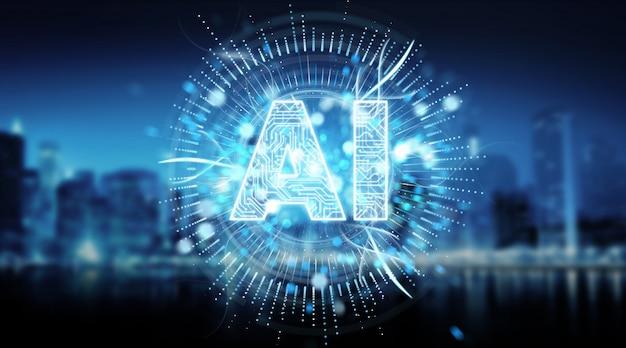 Renderização 3d de holograma de texto de inteligência artificial digital