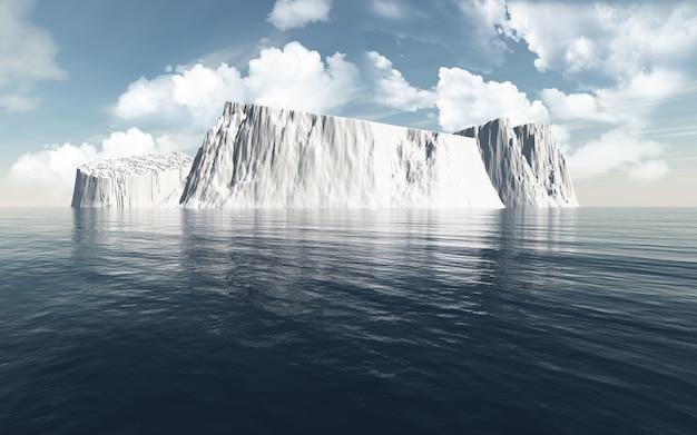 Renderização 3d de icebergs no oceano