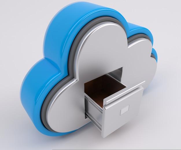 Renderização 3d de ícone de unidade de nuvem com armário de arquivamento