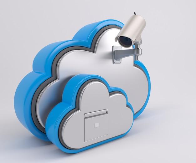 Renderização 3d de ícone de unidade de nuvem com câmera de segurança