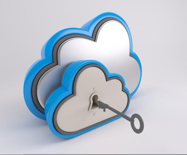 Renderização 3d de ícone de unidade de nuvem com trava e chave