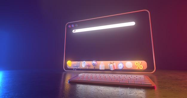 Renderização 3d de ícones da web e luz de néon.