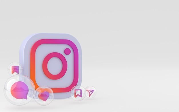 Renderização 3d de ícones do instagram