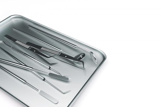 Renderização 3d de instrumentos dentários em uma bandeja