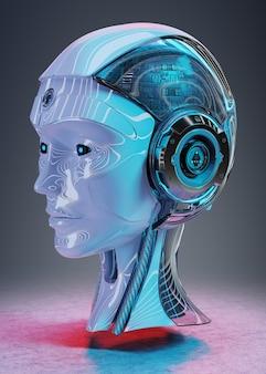 Renderização 3d de inteligência artificial cabeça ciborgue