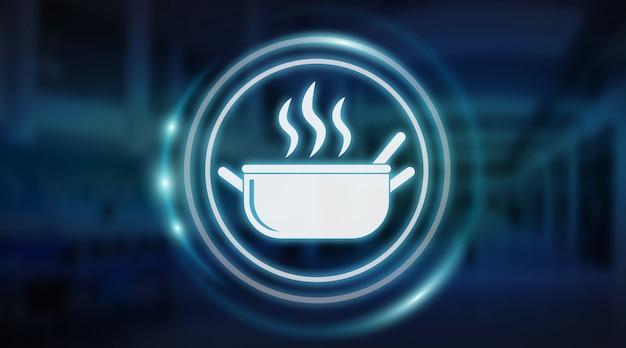 Renderização 3d de interface de aplicação de comida feita em casa