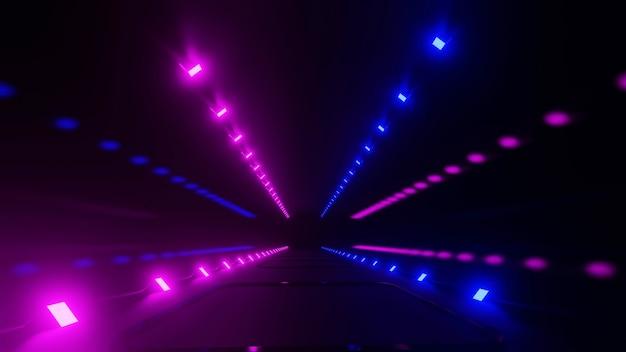 Renderização 3d de interior escuro com luzes rosa e azuis