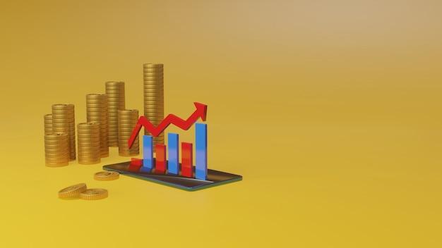 Renderização 3d de investimento e gestão financeira com smart phone