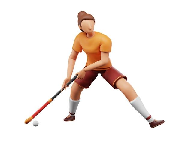 Renderização 3d de jogador de hóquei feminino batendo na bola com taco no fundo branco.